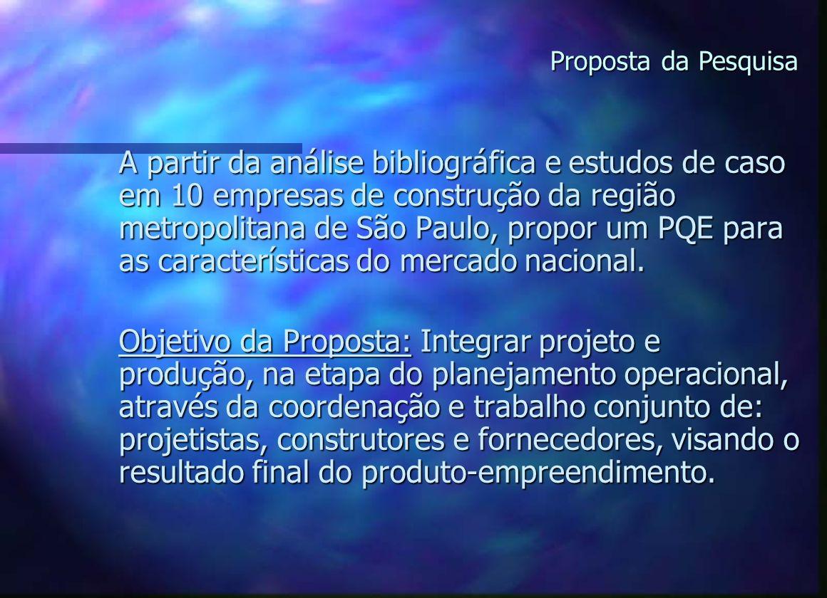 A partir da análise bibliográfica e estudos de caso em 10 empresas de construção da região metropolitana de São Paulo, propor um PQE para as características do mercado nacional.