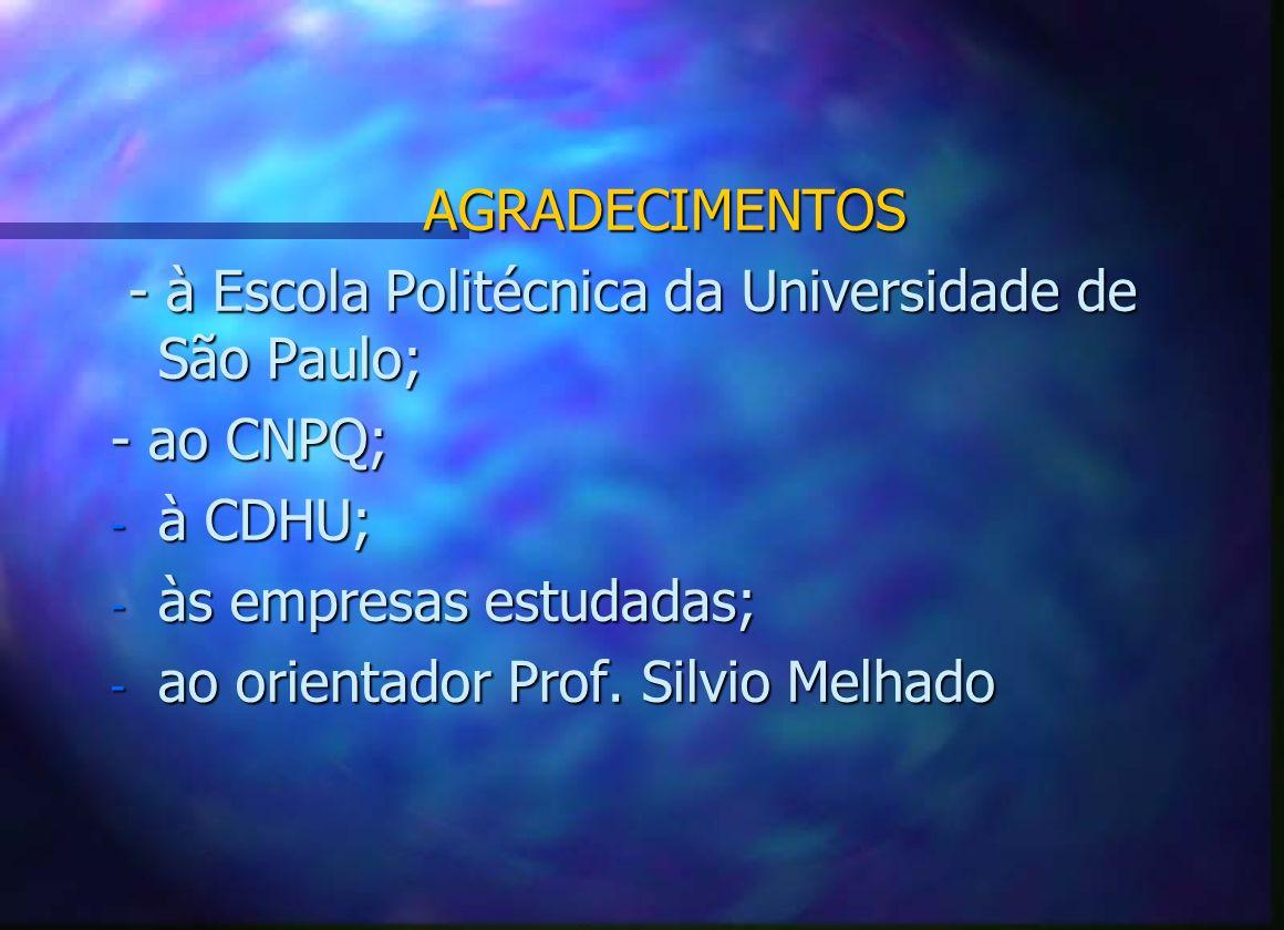 AGRADECIMENTOS - à Escola Politécnica da Universidade de São Paulo; - ao CNPQ; à CDHU; às empresas estudadas;