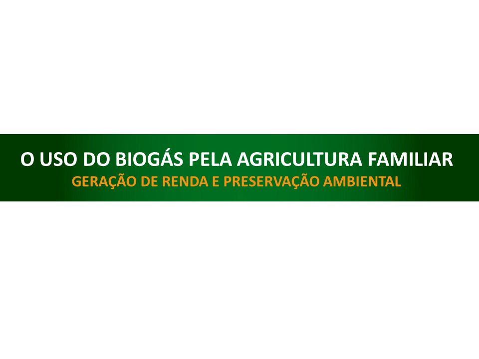 O USO DO BIOGÁS PELA AGRICULTURA FAMILIAR