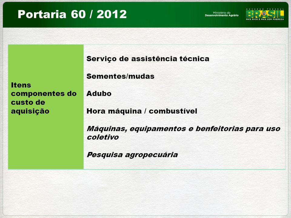 Portaria 60 / 2012 Serviço de assistência técnica Sementes/mudas