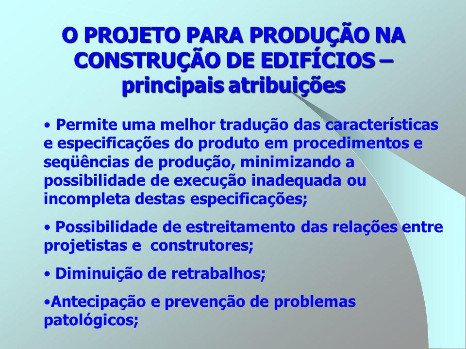 O PROJETO PARA PRODUÇÃO NA CONSTRUÇÃO DE EDIFÍCIOS – principais atribuições