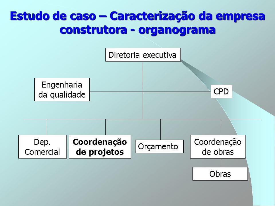 Estudo de caso – Caracterização da empresa construtora - organograma