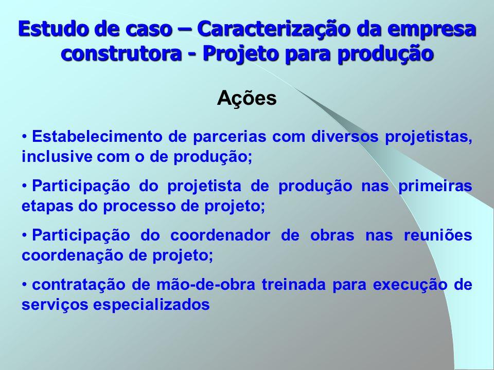 Estudo de caso – Caracterização da empresa construtora - Projeto para produção