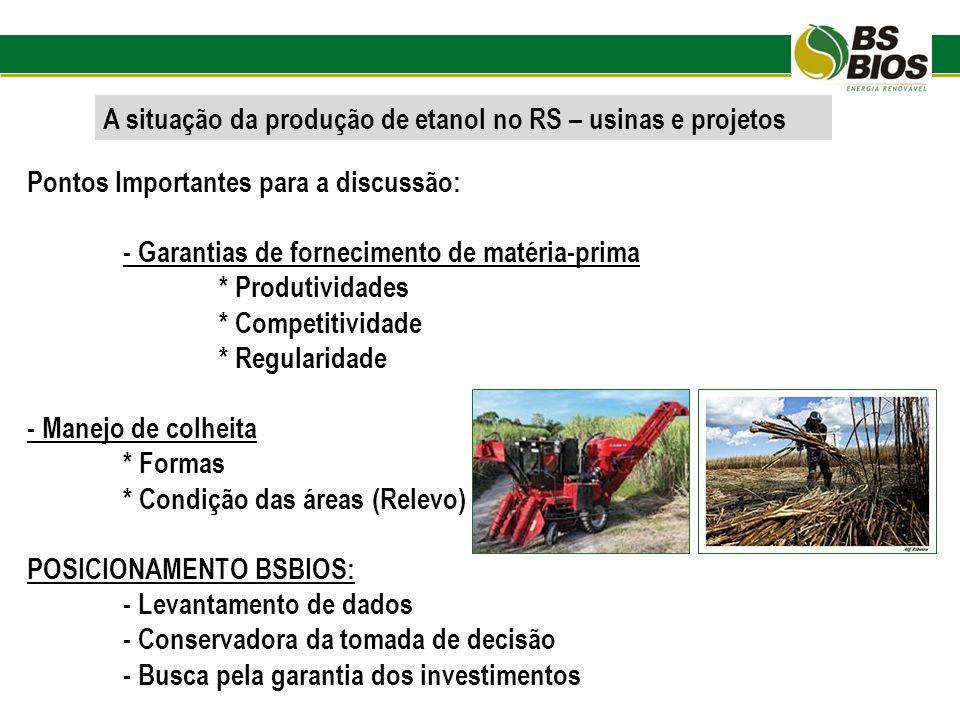 A situação da produção de etanol no RS – usinas e projetos