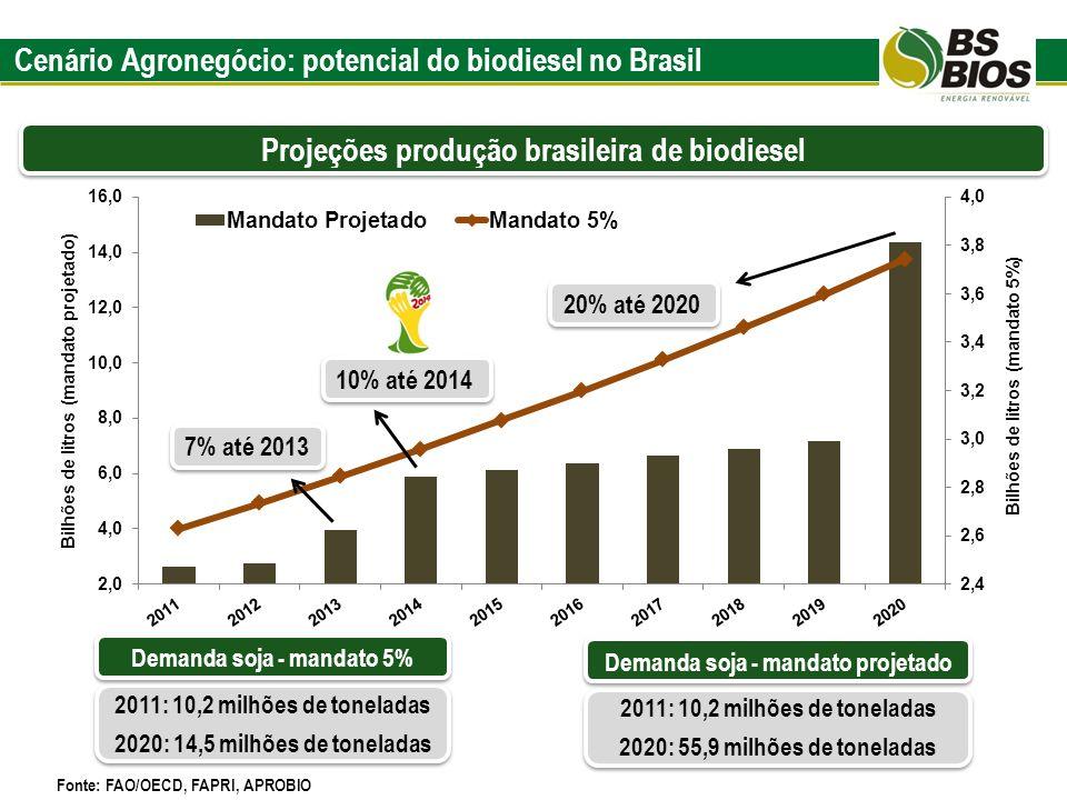 Projeções produção brasileira de biodiesel