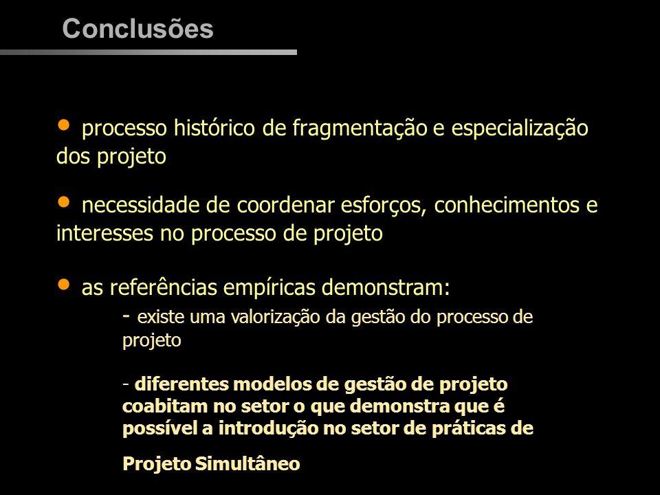 processo histórico de fragmentação e especialização dos projeto