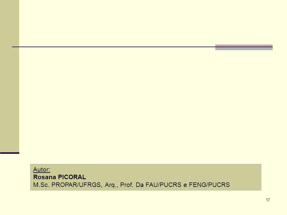 Autor: Rosana PICORAL M.Sc. PROPAR/UFRGS, Arq., Prof. Da FAU/PUCRS e FENG/PUCRS