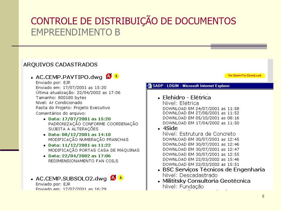 CONTROLE DE DISTRIBUIÇÃO DE DOCUMENTOS EMPREENDIMENTO B