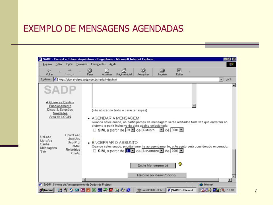 EXEMPLO DE MENSAGENS AGENDADAS