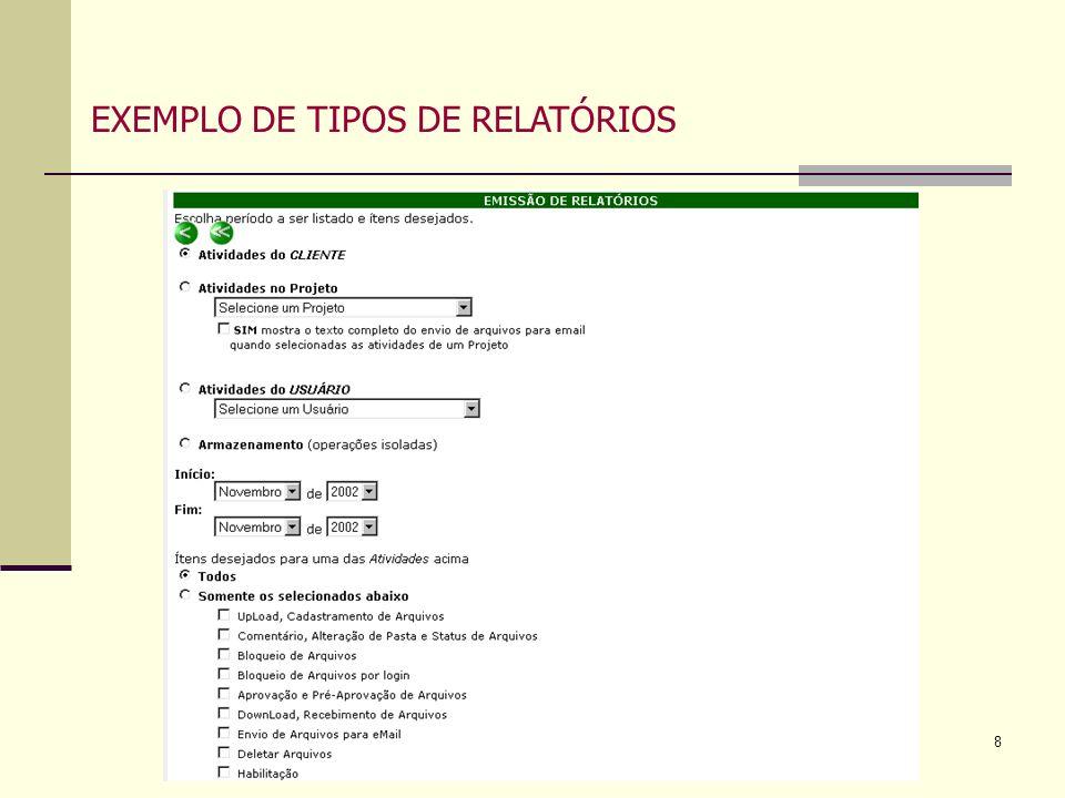 EXEMPLO DE TIPOS DE RELATÓRIOS