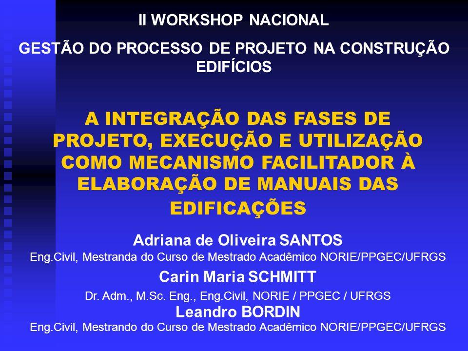 II WORKSHOP NACIONAL GESTÃO DO PROCESSO DE PROJETO NA CONSTRUÇÃO EDIFÍCIOS.