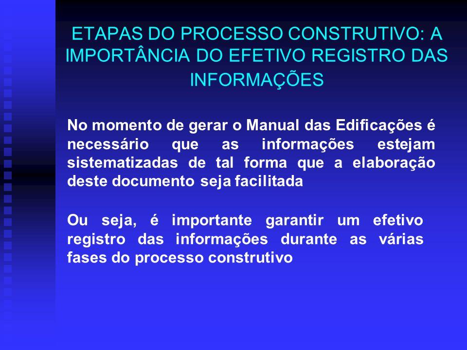 ETAPAS DO PROCESSO CONSTRUTIVO: A IMPORTÂNCIA DO EFETIVO REGISTRO DAS INFORMAÇÕES