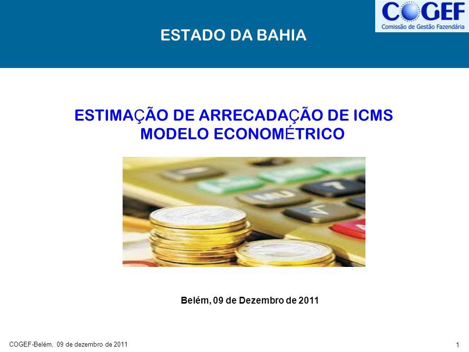 ESTIMAÇÃO DE ARRECADAÇÃO DE ICMS MODELO ECONOMÉTRICO