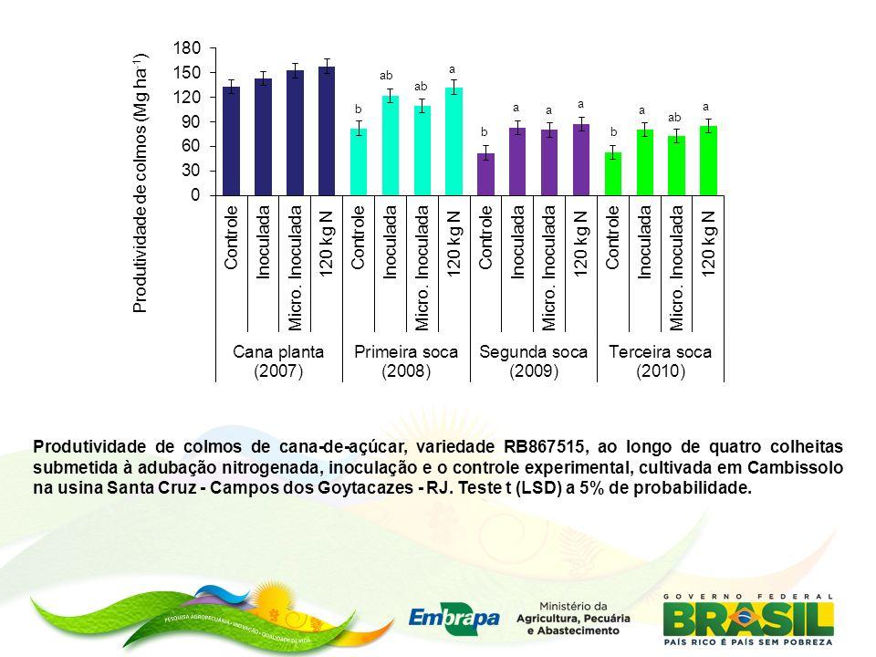 Produtividade de colmos de cana-de-açúcar, variedade RB867515, ao longo de quatro colheitas submetida à adubação nitrogenada, inoculação e o controle experimental, cultivada em Cambissolo na usina Santa Cruz - Campos dos Goytacazes - RJ.