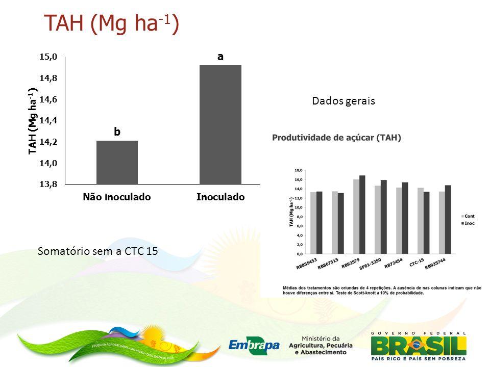 TAH (Mg ha-1) Dados gerais Somatório sem a CTC 15