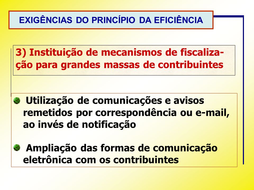 EXIGÊNCIAS DO PRINCÍPIO DA EFICIÊNCIA