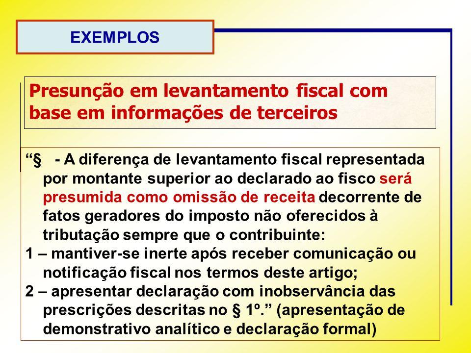 Presunção em levantamento fiscal com base em informações de terceiros