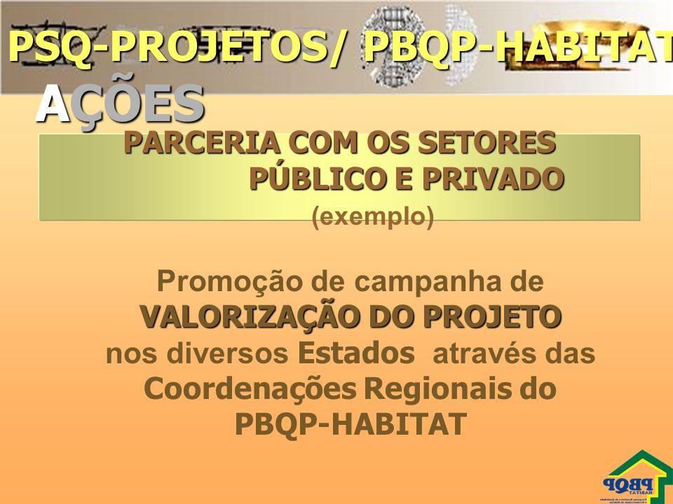 AÇÕES PSQ-PROJETOS/ PBQP-HABITAT PARCERIA COM OS SETORES