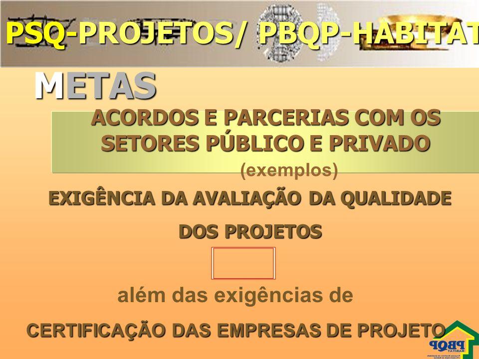 METAS PSQ-PROJETOS/ PBQP-HABITAT 