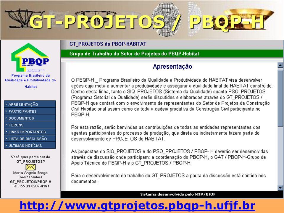 GT-PROJETOS / PBQP-H http://www.gtprojetos.pbqp-h.ufjf.br
