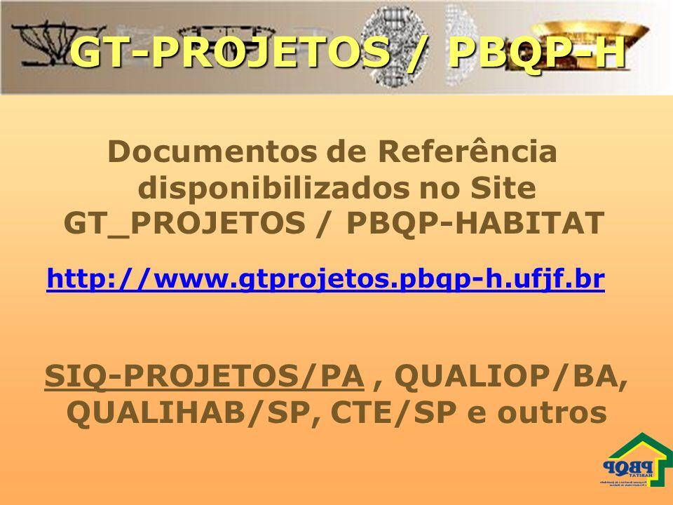 GT-PROJETOS / PBQP-H Documentos de Referência disponibilizados no Site