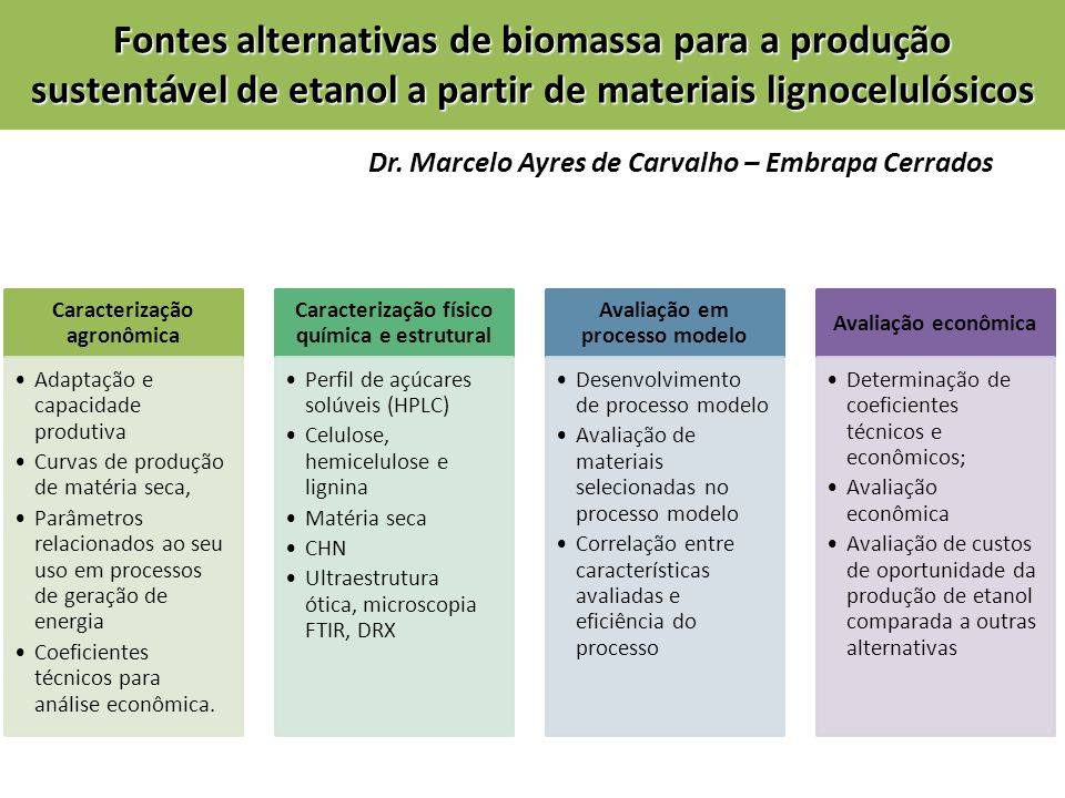 Fontes alternativas de biomassa para a produção sustentável de etanol a partir de materiais lignocelulósicos