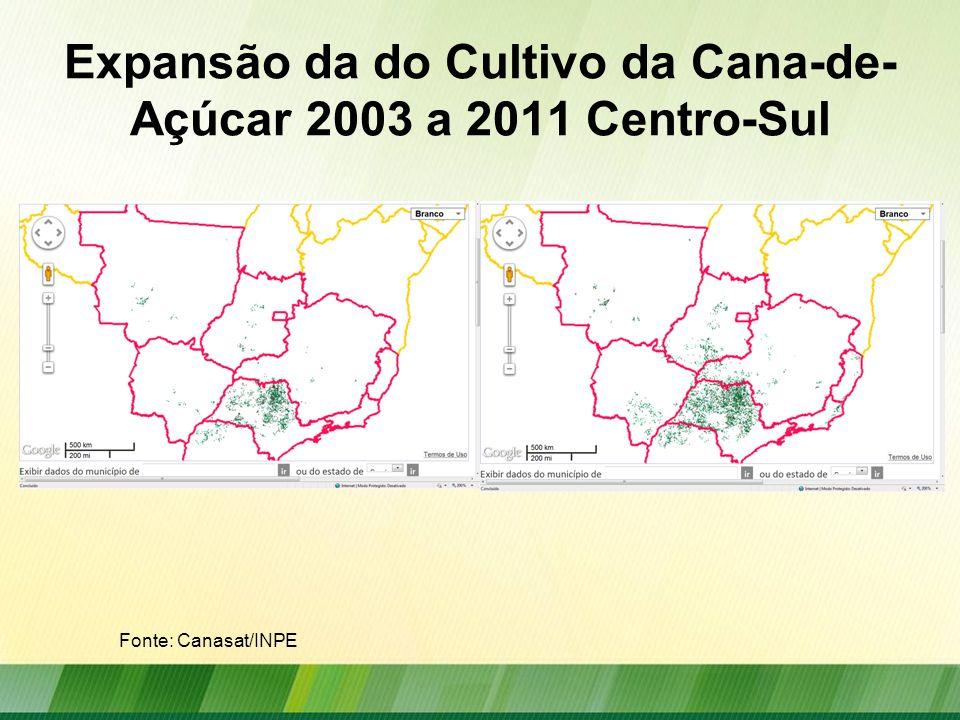 Expansão da do Cultivo da Cana-de-Açúcar 2003 a 2011 Centro-Sul