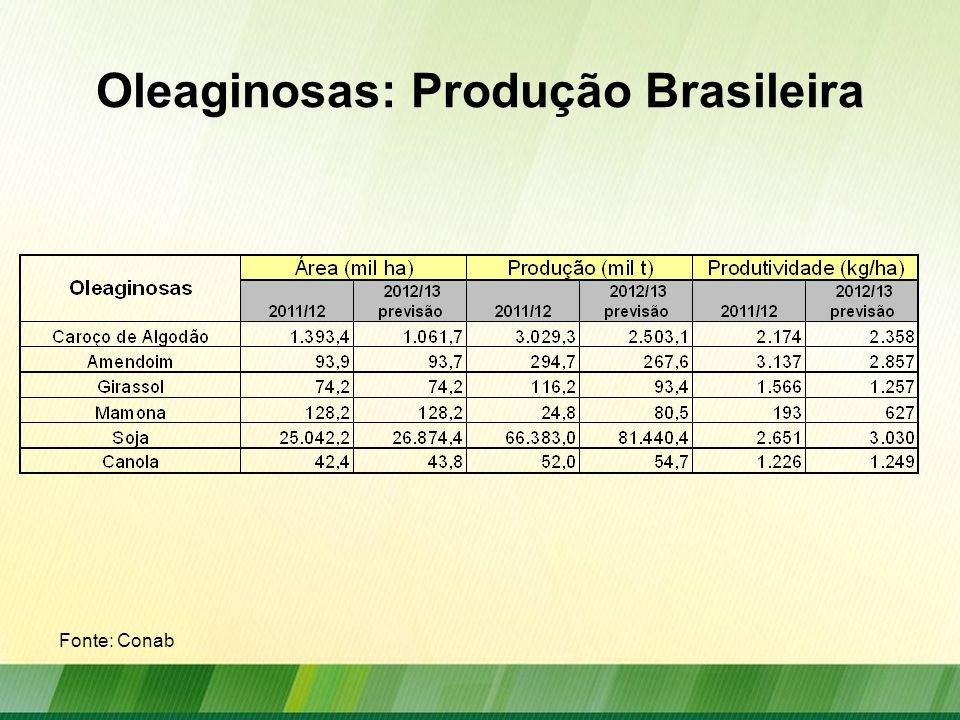 Oleaginosas: Produção Brasileira