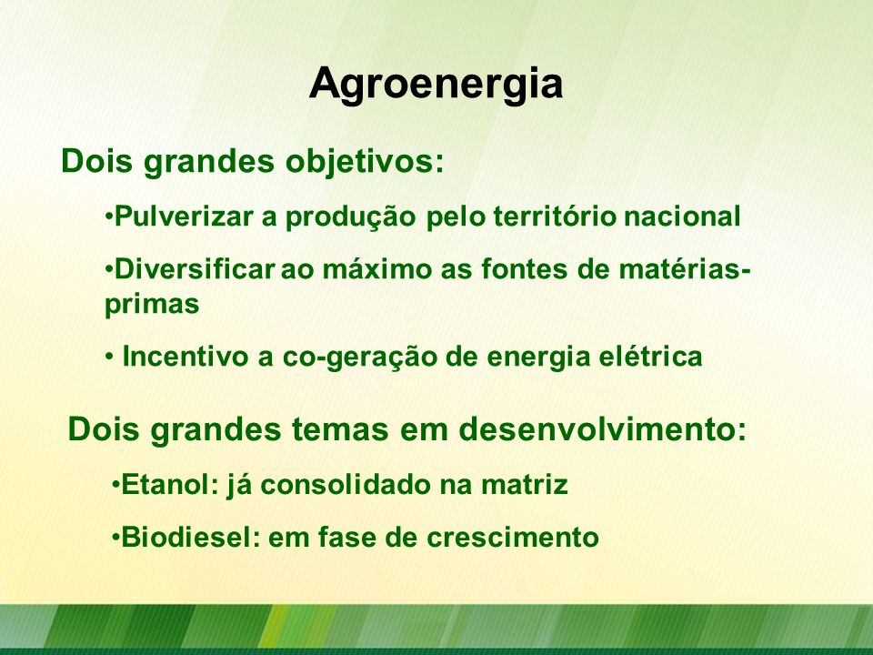 Agroenergia Dois grandes objetivos: