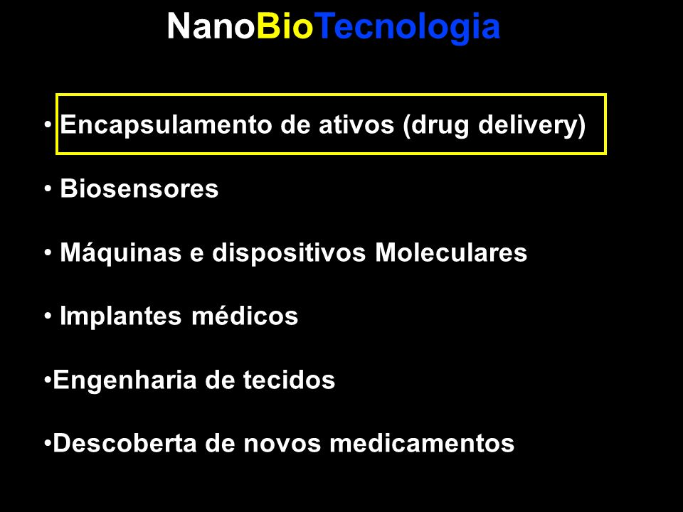 NanoBioTecnologia Encapsulamento de ativos (drug delivery) Biosensores