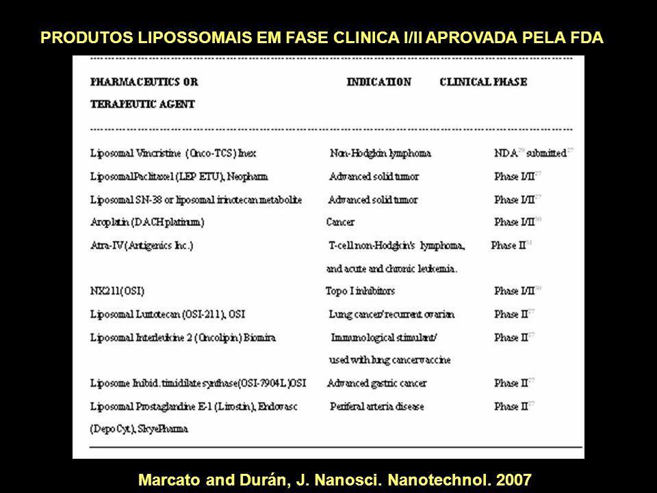PRODUTOS LIPOSSOMAIS EM FASE CLINICA I/II APROVADA PELA FDA