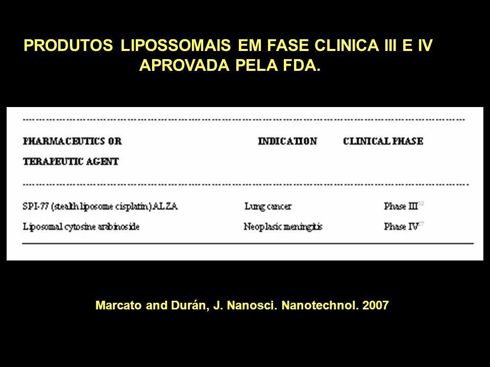 PRODUTOS LIPOSSOMAIS EM FASE CLINICA III E IV