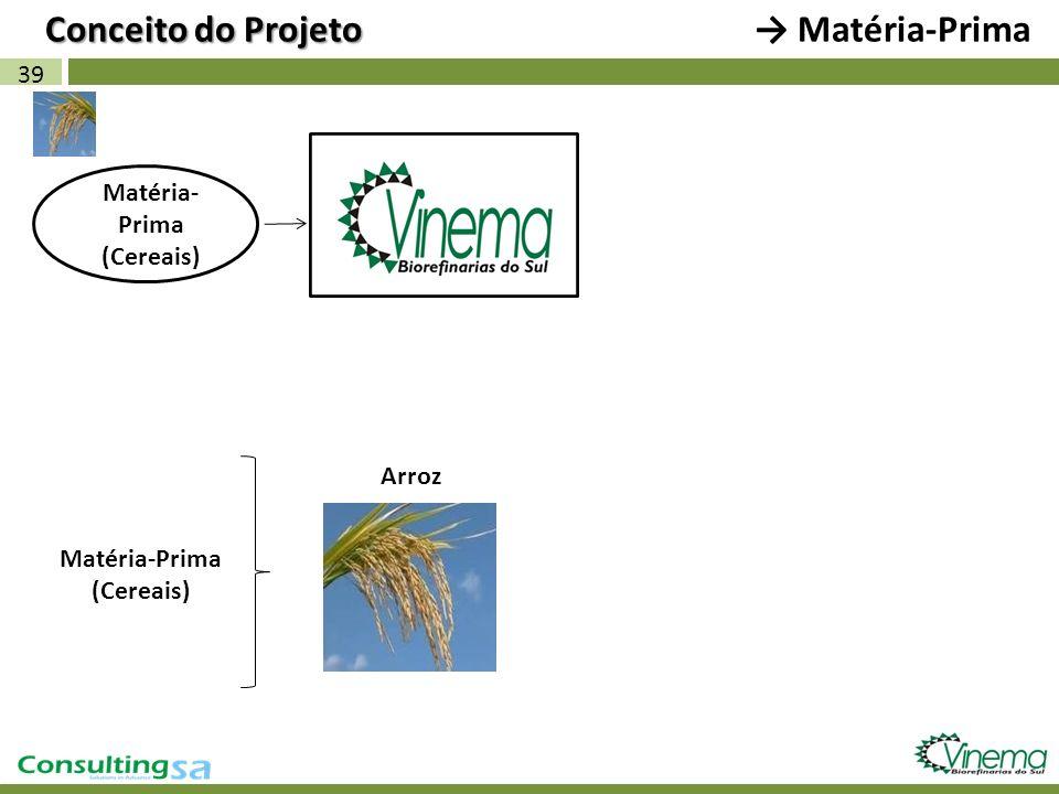 Conceito do Projeto → Matéria-Prima 39 Matéria-Prima (Cereais) Arroz
