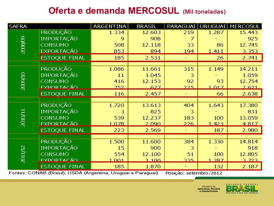 Oferta e demanda MERCOSUL (Mil toneladas)
