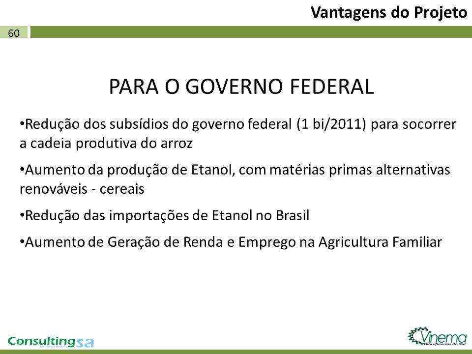 PARA O GOVERNO FEDERAL Vantagens do Projeto