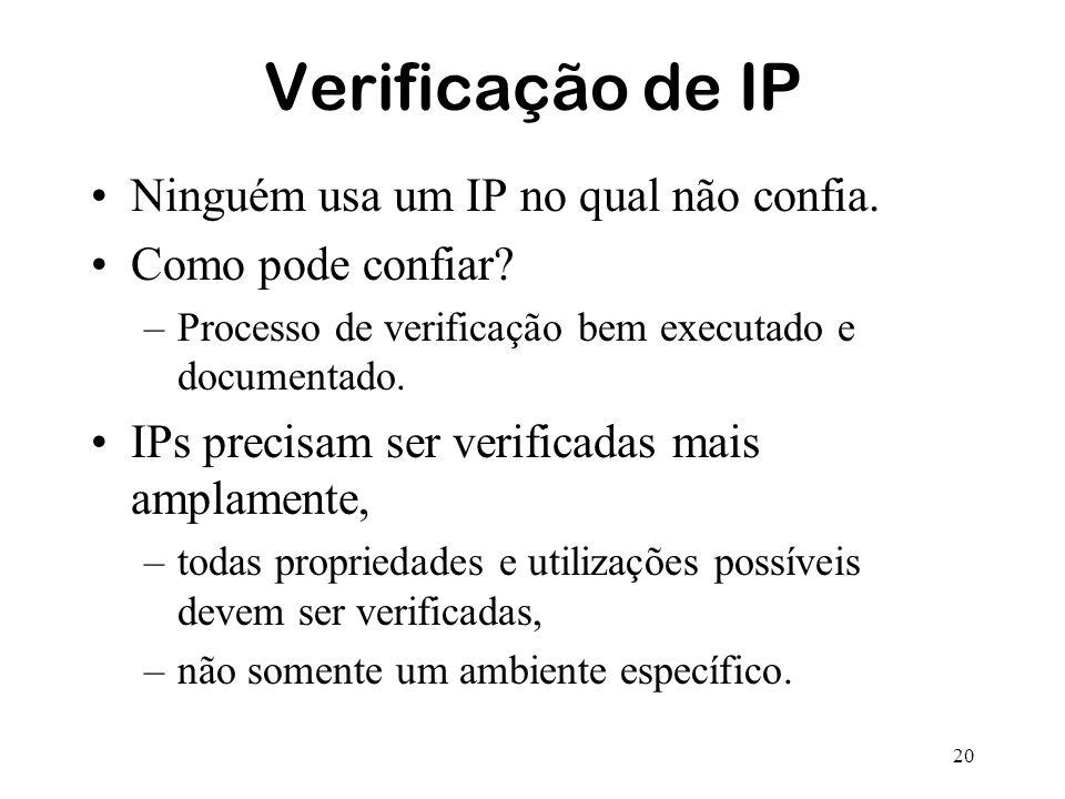 Verificação de IP Ninguém usa um IP no qual não confia.
