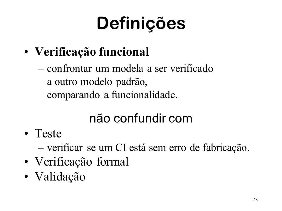 Definições Verificação funcional não confundir com Teste