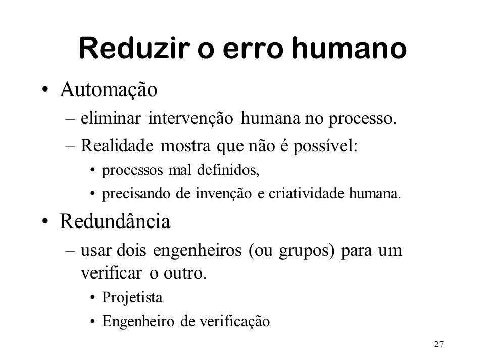 Reduzir o erro humano Automação Redundância