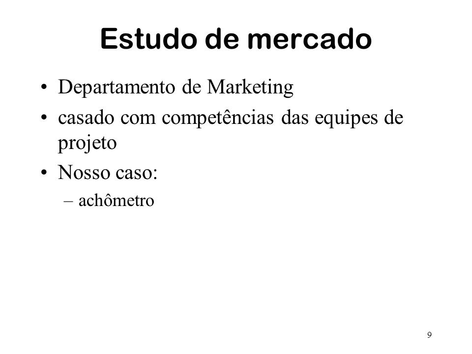 Estudo de mercado Departamento de Marketing