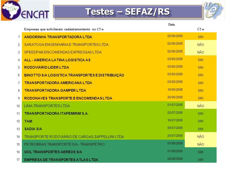 Testes – SEFAZ/RS ANDORINHA TRANSPORTADORA LTDA