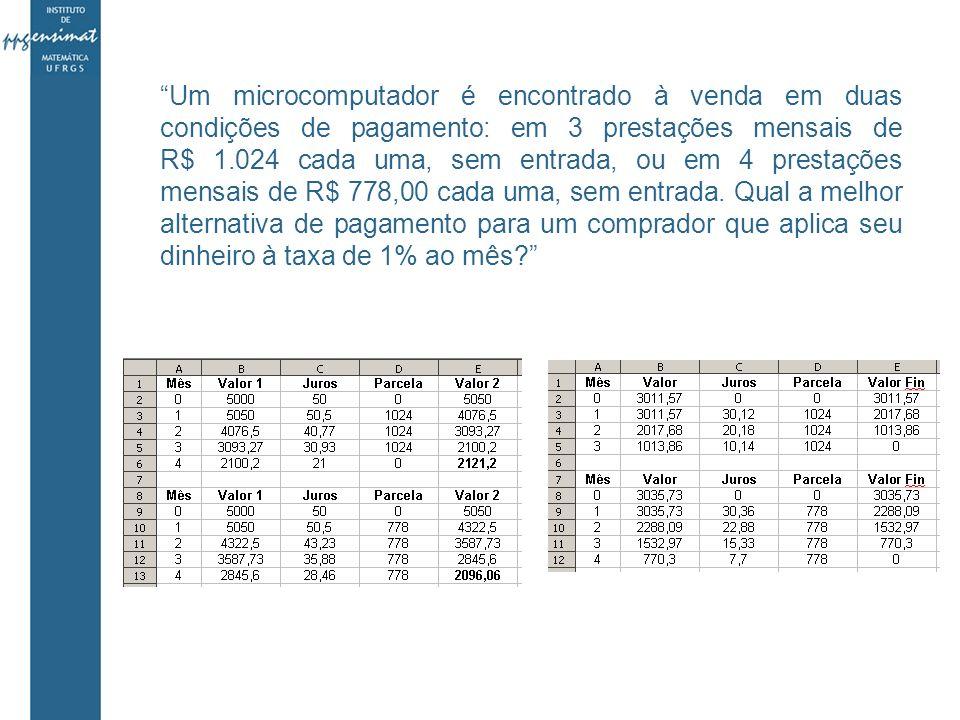 Um microcomputador é encontrado à venda em duas condições de pagamento: em 3 prestações mensais de R$ 1.024 cada uma, sem entrada, ou em 4 prestações mensais de R$ 778,00 cada uma, sem entrada.