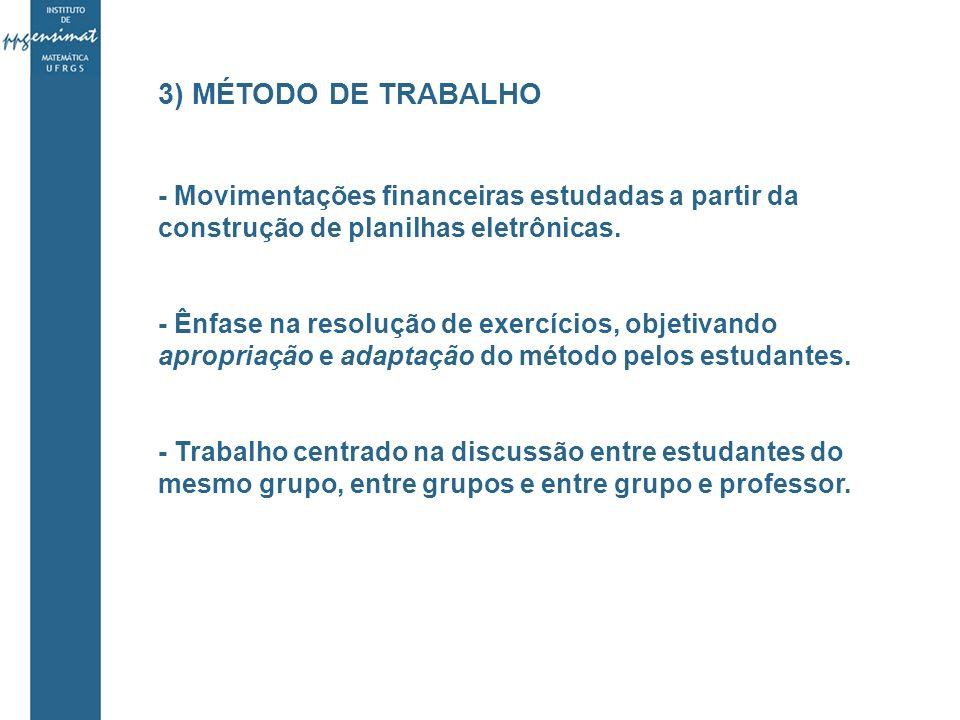3) MÉTODO DE TRABALHO - Movimentações financeiras estudadas a partir da construção de planilhas eletrônicas.