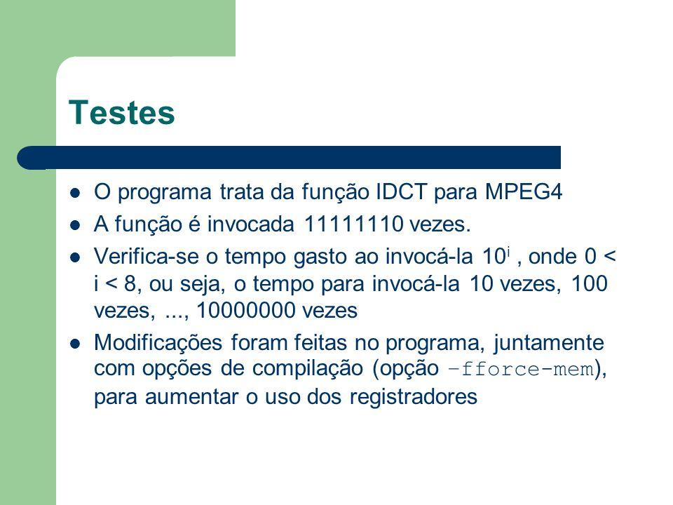 Testes O programa trata da função IDCT para MPEG4