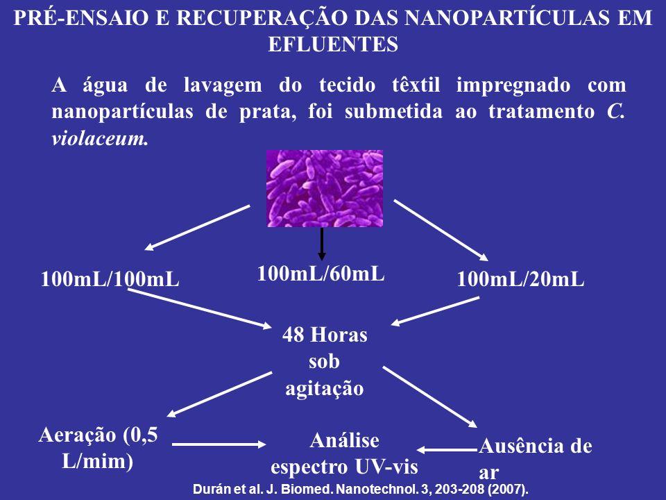 PRÉ-ENSAIO E RECUPERAÇÃO DAS NANOPARTÍCULAS EM EFLUENTES