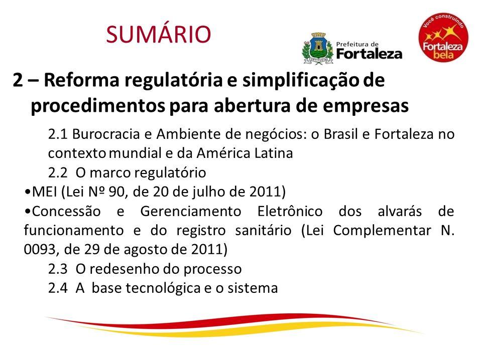 SUMÁRIO 2 – Reforma regulatória e simplificação de procedimentos para abertura de empresas.