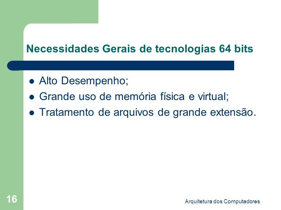 Necessidades Gerais de tecnologias 64 bits