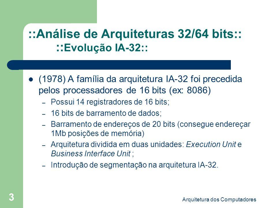 ::Análise de Arquiteturas 32/64 bits:: ::Evolução IA-32::