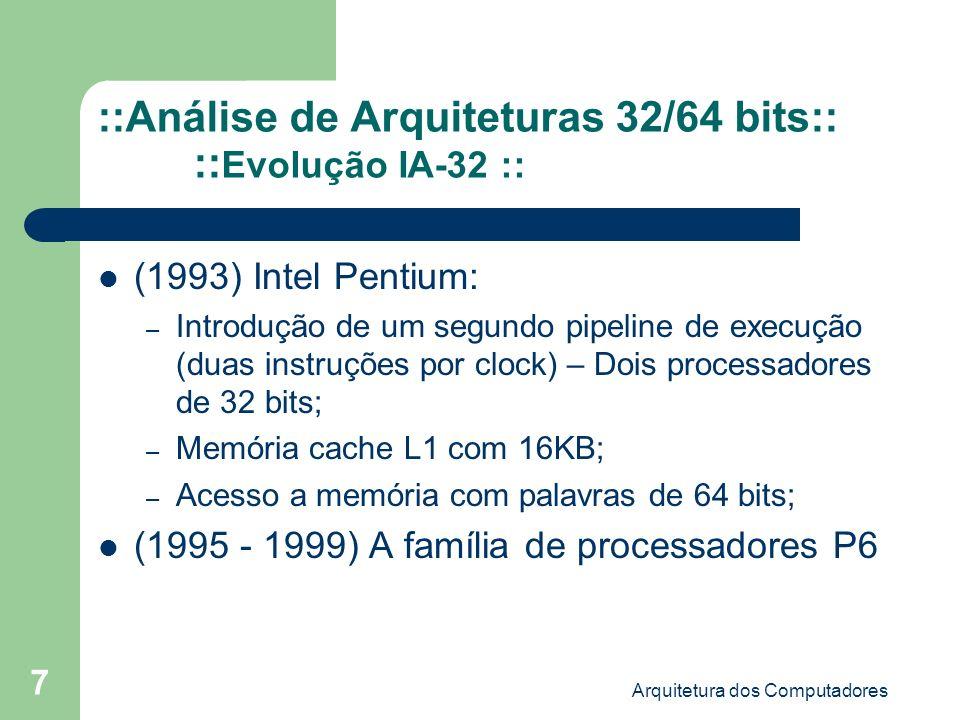 ::Análise de Arquiteturas 32/64 bits:: ::Evolução IA-32 ::