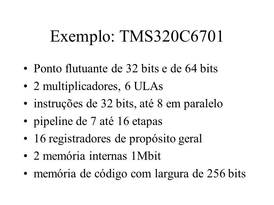Exemplo: TMS320C6701 Ponto flutuante de 32 bits e de 64 bits