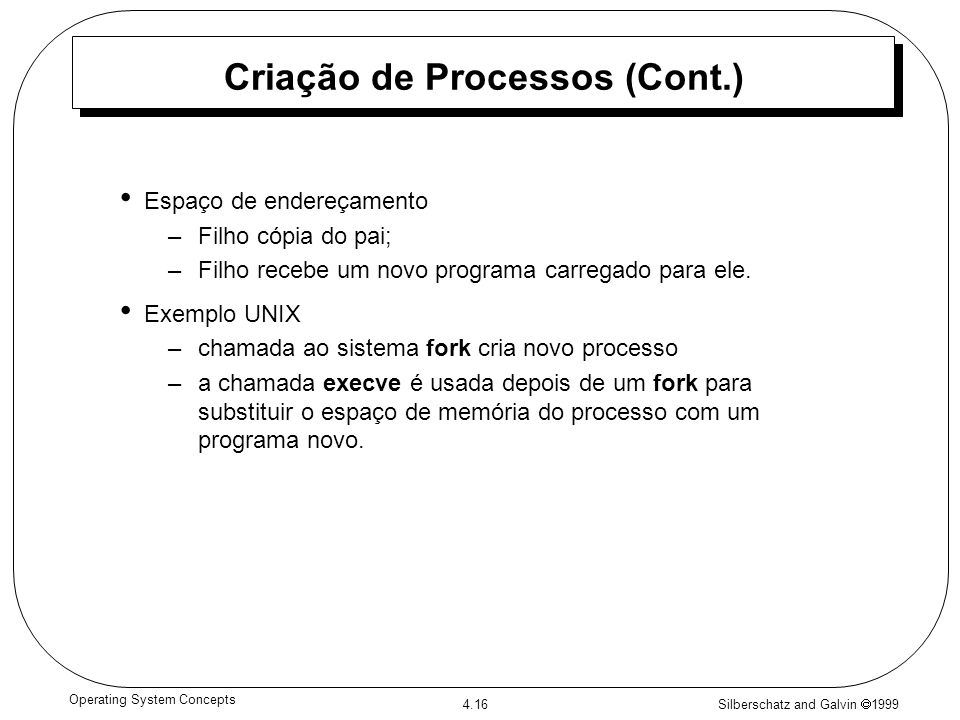 Criação de Processos (Cont.)
